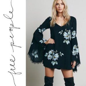 Free People Wanderer Bell Sleeve Floral Mini Dress